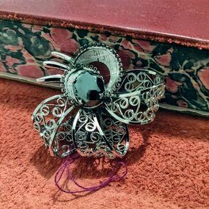 Zeidell's Sterling filigree Hematite floral Brooch